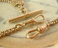 Pocket Watch Chain 1930s 12ct Rose Rolled Gold Double Albert With T Bar (8 of 12)