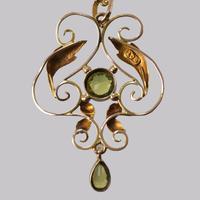 Art Nouveau Peridot Pendant Antique 9ct Gold Pendant & Chain Edwardian Necklace (5 of 7)