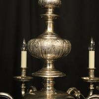 English Silver Plated 6 Light Antique Chandelier (8 of 10)