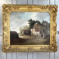 Antique Large Victorian Landscape Oil Painting of a Farm Signed J Howard (2 of 10)