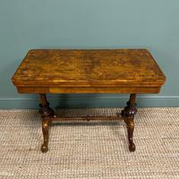 Quality Figured Walnut Victorian Antique Card Table / Games Table (4 of 9)