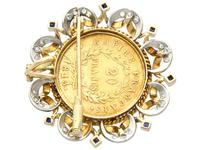0.16ct Sapphire and 0.40ct Diamond, 18ct Yellow Gold and 22ct Gold Coin Pendant / Brooch - Antique French c.1890 (7 of 9)