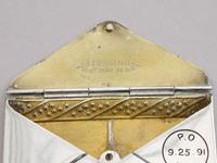 Victorian Patented American Sterling Silver & Enamel Envelope Form Double Stamp Case (3 of 8)