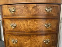 Bow Front Burr Walnut Chest on Chest of Drawers (9 of 13)
