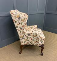 Upholstered Walnut Wing Armchair (7 of 9)