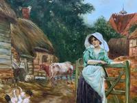 Wonderful Original Signed Vintage Oil Painting - Pretty Milkmaid in Farmyard (5 of 12)