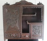 Antique Japanese Carved Wood Tabletop Cabinet c.1900 (2 of 15)
