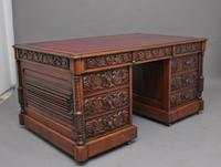 19th Century Carved Oak Partners Desk (11 of 17)