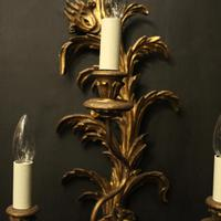 Florentine Pair of Giltwood Leaf Wall Lights (3 of 9)