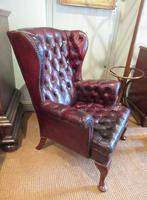 Antique Leather Chesterfield Wing Armchair (5 of 7)
