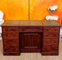 Twin Pedestal Desk Cuban Mahogany Leather 19th Century