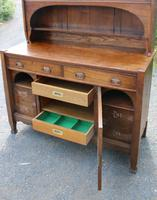 1920s Large Oak Carved Buffet with Display Cupboards (3 of 7)