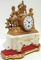 Stunning Complete French Mantel Clock Under Dome with Base Figural Mantle Clock. (5 of 10)