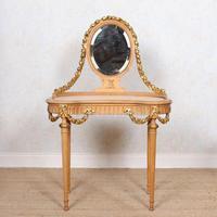 Neoclassical Marble Dressing Table Gilt Mirrored Vanity Satinwood