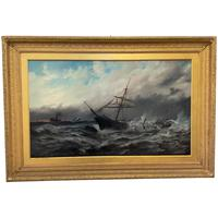 Huge 19th Century Seascape Oil Painting Sinking Ship Signalling Rescuers by Henry E Tozer