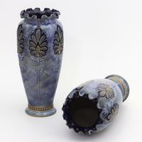 Pair of Royal Doulton Stoneware Art Nouveau Vases by Eliza Simmance c1903 (5 of 11)