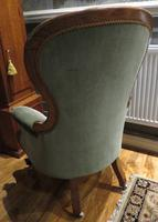 Victorian Walnut Armchair Recently Upholstered 1880 (6 of 7)