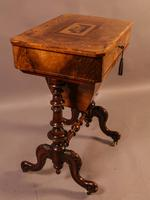 Good Victorian Ladies Sewing Table inlaid with castle ruins (4 of 10)