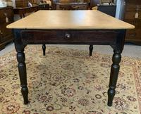Antique Victorian Pine Farmhouse Table with Drawer (3 of 16)