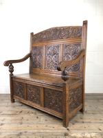 Victorian Carved Oak Settle or Hall Bench (7 of 16)