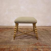 19th Century French Square Giltwood & Upholstered Stool Ottoman - Table
