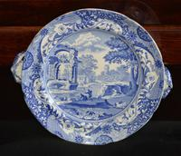 Early 19c Blue and White Transfer-Printed Spode Italian Pattern Hot Water Plate