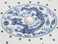 Chinese 19th Century Blue & White Oval Strainer Dish (5 of 7)