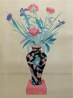 Large Original Japanese Inspired Floral Still Life Watercolour Painting (3 of 12)