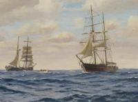 20th Century Oil on Board Mary Celeste Intercepted by the Dei Gratia by Roger Fisher (2 of 5)
