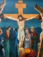 Superb 19th Century Old Master Biblical Christ Oil Portrait Painting - Gothic Oak Frame (4 of 17)