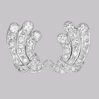 Art Deco 1.80ct Diamond Earrings 18ct White Gold Antique Earrings with Post Fittings Circa 1920