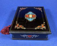 19th century French Ebony, Brass Lacquer & Red Tortoiseshell Jewellery Box (13 of 17)