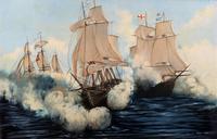 Large Fabulous Vintage 20th Century Maritime Naval Battle Ships Seascape Oil Painting (2 of 12)