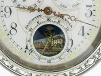 Full Calendar Silver & Gunmetal Open Face Pocket Watch Swiss 1920 (2 of 5)