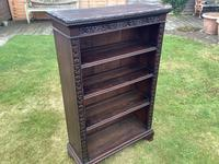 Carved Oak Open Bookcase (3 of 4)