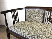 Antique Edwardian Mahogany Inlaid Parlour Sofa (11 of 15)