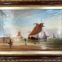 Antique Marine Seascape Coastal Oil Painting of Dutch Sailing Barges Signed J Witham 1898 (3 of 10)