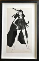 Original pen and watercolour painting '60's girl' by Alistair Michie RWA. 1921-2008. Signed c.1965 (2 of 2)