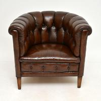 Pair of Antique Swedish Leather Chesterfield Armchairs (4 of 12)