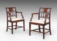 Pair of 18th Century Sheraton Period Mahogany Elbow Chairs