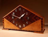 Very Stylish Typical Art Deco Amsterdam School Oak & Macassar Ebony / Coromandel Mantel Clock (7 of 8)