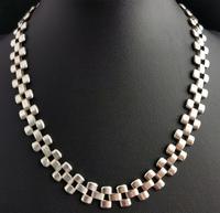 Antique Victorian Silver Collar Necklace, Brick Link (8 of 12)