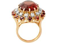 17.67ct Citrine & 1.33ct Diamond, 18ct Yellow Gold Dress Ring - Vintage French c.1950 (5 of 9)
