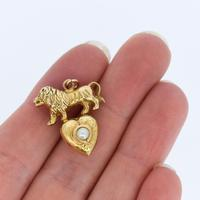 Antique 9ct 9K Yellow Gold Lion & Pearl Heart Pendant Charm (8 of 8)
