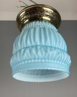 Art Deco Ceiling Light With Original Blue Shade; Brass Gallery; Rewired. (2 of 7)