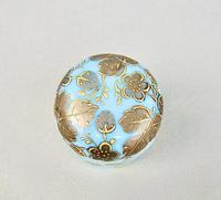19th Century Moser Turquoise Opaline & Gilt Glass Rouge Pot c.1890 (2 of 6)