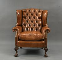 Fine Large Antique Deep Buttoned Leather Wing Chair (3 of 15)