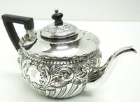 English Victorian Antique Solid Silver Tea Set, Embossed Decoration c.1890 (10 of 11)