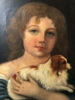 """Genre 19th Century Oil Painting Portrait Young Girl & Cavalier King Charles Spaniel """"Faithful Friend"""" (2 of 12)"""