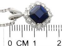 2.35ct Sapphire & 0.32ct Diamond, Platinum Cluster Pendant - Vintage c.1970 (6 of 9)